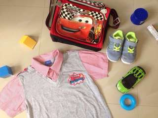 TAKE ALL for 550! Nike 8c shoes, Disney Cars Bag & Polo
