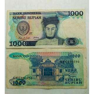 Uang kuno /uang lama (1000Rp. Raja sisingamangaraja thn 1987)