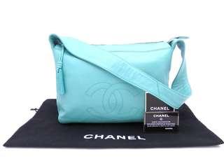 Vintage Chanel Tiffany Blue羊皮簡約shoulder bag 29.5x20x10.5cm