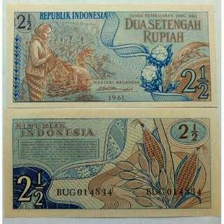 Uang kuno /uang lama (2 1/2Rp. Sandang pangan thn 1961)