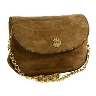Vintage Chanel啡色麂皮x蜥蜴皮包邊圓形logo chain bag 22x15x5.5cm