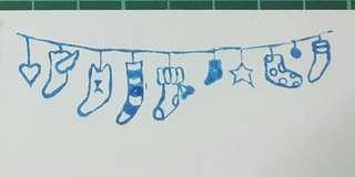 🚚 橡皮章 曬襪子