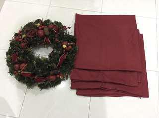 Maroon cushion + Xmas wreath