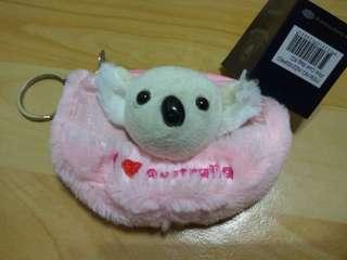 🚚 粉紅色 無尾熊絨毛玩偶裝飾 零錢包/鑰匙包