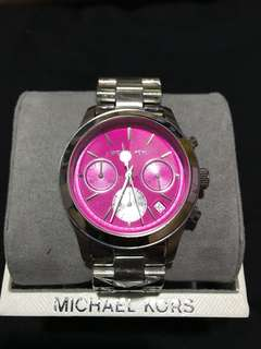 Michael Kors Womens Mettalic Runway Watch Silver/Pink