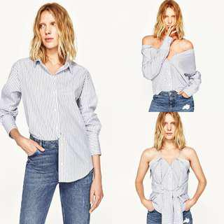 ZARA Multiposition Striped Shirt (Off the Shoulders with Straps)