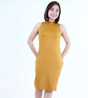 HTP Mustard Bodycon Zip Dress