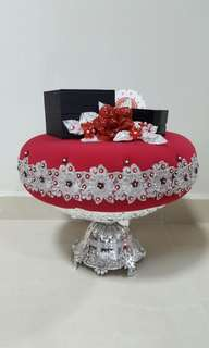 Maroon red silver dulang trays engagement wedding for sale