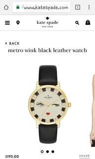 Authentic Kate Spade Metro Wink Black Leather  Watch