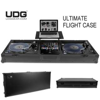 UDG Ultimate Flight Case Turntable/Mixer Set PLX9/SL1200 Black Plus (Laptop Shelf + Wheels)