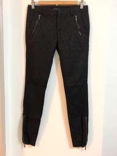 🚚 西班牙【ZARA】黑色緹花低腰彈力窄管褲#38