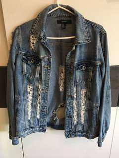 Forever 21 Distressed Jean Jacket