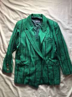 Green Pinstripe Blazer