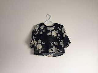 h&m sheer floral crop