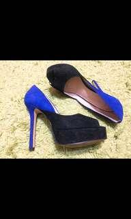 🚚 寶藍黑魚口高跟鞋(9成新)
