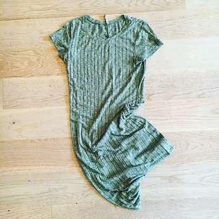 Dusk Green Ribbed Long Dress |