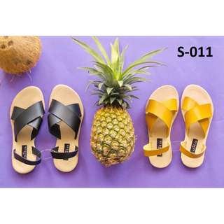 Gigi Cross Sandals(Mustard/Black)* S-011