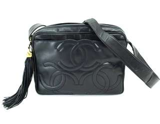 Vintage Chanel海軍藍羊皮3cc logo流蘇camera bag 27x19x7cm