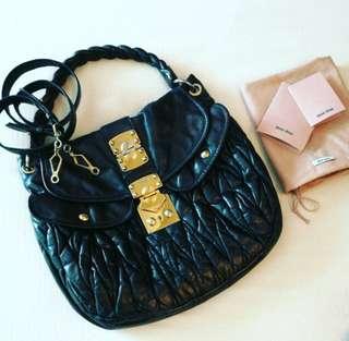 💯 Authentic MIU MIU Black Matelasse Coffer Shoulder Hobo Bag