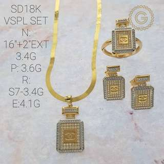 Saudi Gold Chanel Set (Necklace,Earrings ang Ring)