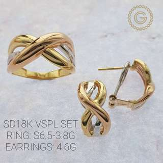 Saudi Gold 18k Set (earrings and Ring Tri-color)