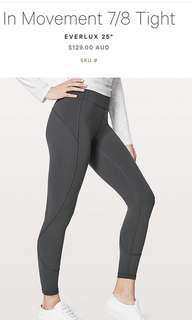 Lululemon in the movement 7/8 tights  sz 2