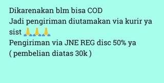 Disc 50 pengiriman via JNE REG