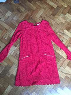 Red lace dress for girls