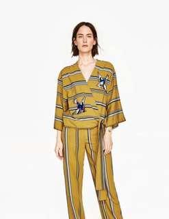 AUTHENTIC Zara Mustard Yellow Embroidered Bird Wrap Top