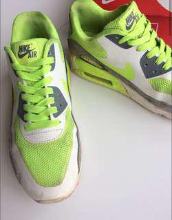 Green fluoro air max shoes