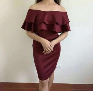 Off Shoulder Dress (Burgundy/Maroon)