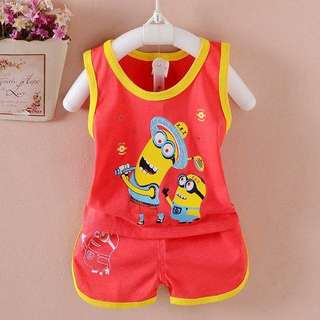 Cutie minions sleeveless top + short pant set