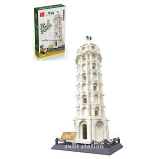 LEANING TOWER OF PISA WANGE LEGO like BUILDING BLOCKS TOY FIGURE