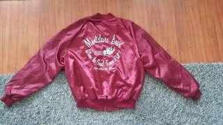 maroon bowling bomber jacket