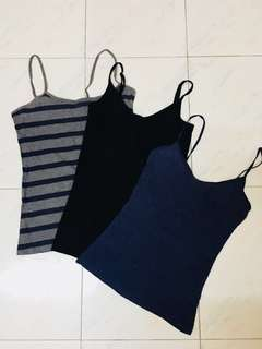 Set of 3 Spaghetti Tops Camisole G2000 New Look H&M