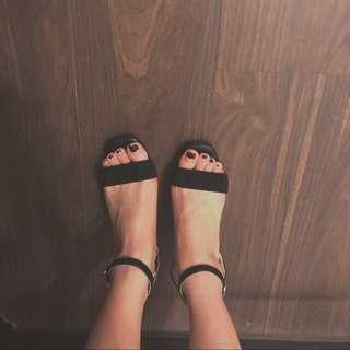 🚚 正韓🇰🇷皮質粗跟涼鞋
