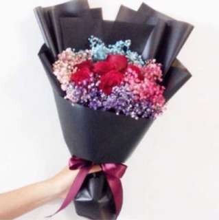 Red Roses with Rainbow Baby Breath Birthday Bouquet