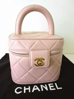 Vintage Chanel baby pink羊皮菱格金扣手提包/化妝箱 handle 17x14cm