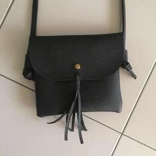 Black Tassel Sling Bag
