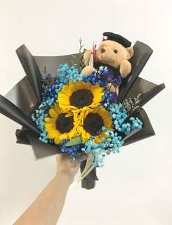 Sunflower with Blue Baby Breath and Graduation Bear