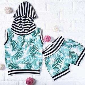 🚚 Instock - 2pc stripe palm set, spring summer 2018 collection