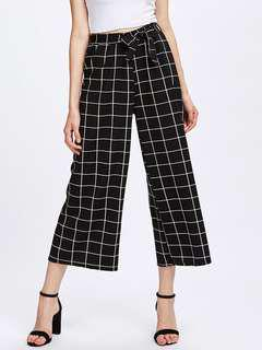 Black and white grid print culottes