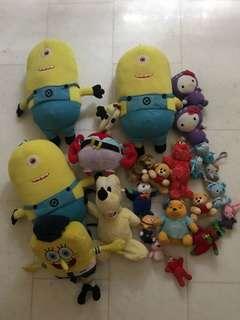 Soft Toys used hello kitty, sponge bob etc