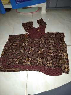 Dress batik anak kerut trusmi asimetris