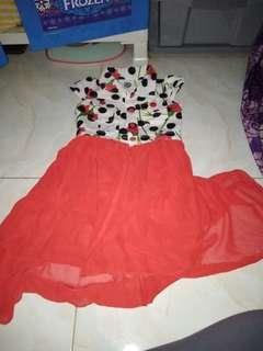 Dress cerry merah chifon cantik