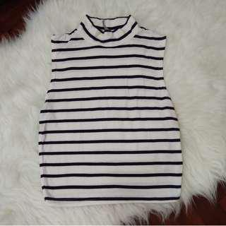 Cotton On High Neck Mockneck Turtleneck Sleeveless Jersey Stretchable Striped Navy Blue and White Top Shirt Blouse