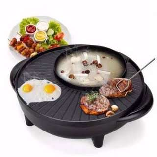 ELECTRIC SHABU SHABU AND FRY PAN FOOD WARMER KOREAN PAN NON STICK FRYING PAN