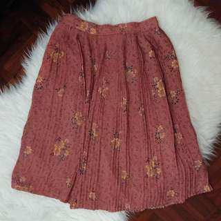 [BN] Vintage Floral Burnt Orange Sienna Pleated Butterfly Midi Knee Length A Linen Skirt