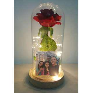 🚚 Instocks customized beauty and the beast rose jar with lights