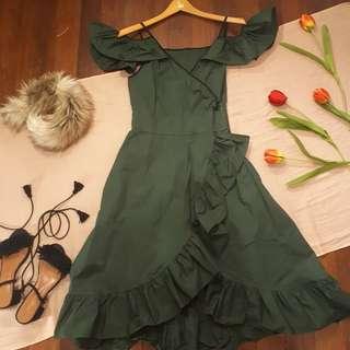 Cold Shoulders Ruffle Midi Dress
